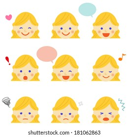 Facial expressions of woman. Vector EPS 10 illustration