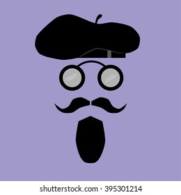 Facial Features comprising a mustache, goatee beard and vintage round spectacles below a stylish beret hat