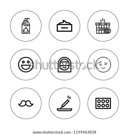 Facial Icon Set Collection 9 Outline Stock Vector Royalty Free