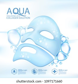 facial mask aqua skin collagen Serum and Background Concept Skin Care Cosmetic.