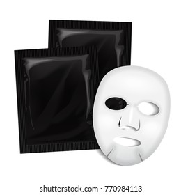 Facial Mask. Black Cosmetics Package. Vector package design for face mask on white background for your design
