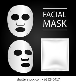 facial mask and blank package.Vector illustration