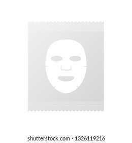 Facial Mask Cosmetics Packaging. Facial mask flat icon. Medicine, cosmetology and health care. Vector stock illustration.