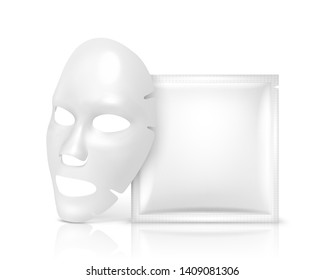 Facial Mask Cosmetics Packaging. Package design for face mask on white background