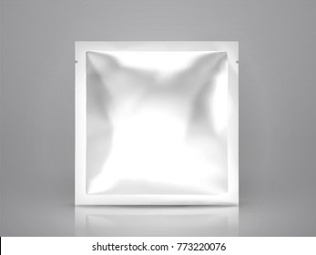 Facial mask or eye mask package, blank foil package template in 3d illustration, square pack isolated on light grey background