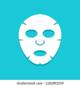Facial mask flat icon design. Face health care beauty. Cosmetic spa product for clean skin.