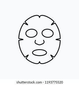 Facial mask flat line icon design. Face health care beauty. Cosmetic spa product for clean skin.