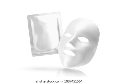 Facial mask with foil pack in 3d illustration on white background