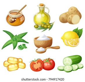 Facial mask ingredients for home face skin care. Cartoon vector food icons set isolated on white background. Natural cosmetic illustration