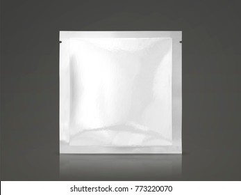 Facial mask package mockup, blank foil package template in 3d illustration, square pack isolated on dark background