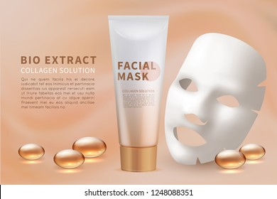 Facial mask sheet. Cosmetic skincare and natural beauty ad vector background with moisturising face mask