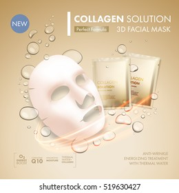 Facial mask sheet with gold collagen sachet on golden water oil bubble background. Skincare collagen hydration moisturizer. Face skincare premium ad design template. Vector beauty concept.