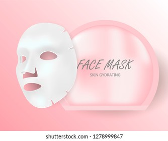 Facial Mask Sheet Pack. Skin Whitening or Moisture Cotton Blank in Disposable Sachet. Anti Aging Reduce Coenzyme and Acne Problem Removal Serum. Closup 3d Isolated Mockup.