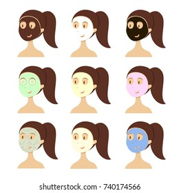 Facial mask types. Woman with different masks on face.