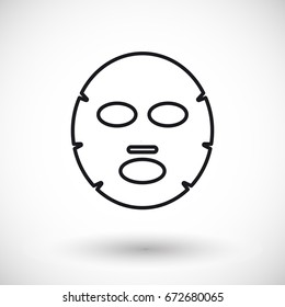 Facial mask vector thin line web icon, Outline design of medicine, cosmetology and healthcare with round shadow
