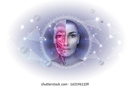 Facial muscles abstract scientific design, woman face muscles anatomy, abstract mesh triangles around the half of the face as a health care and treatment concept.
