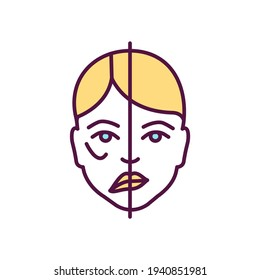 Facial paralysis RGB color icon. Moving face muscles inability. Nerve damage. Trauma, heart stroke, brain tumor. Asymmetric face. Facial drooping, weakening. Bell palsy. Isolated vector illustration
