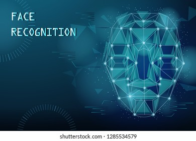 facial recognition concept with 3D face and technology background