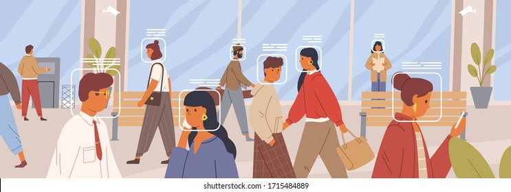 Facial recognition concept. Verification of human face in the crowd horizontal banner. Electronic identification system. Control and security technology. Vector illustration in flat cartoon style