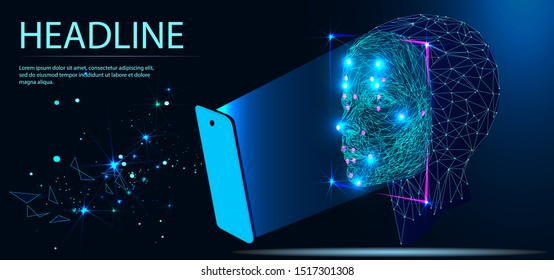 Facial Recognition System concept. biometric scanning, 3D. Face ID. Identification of a person. Polygon vector wireframe concept. Headline