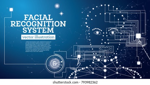 Facial Recognition System Concept with Neon Lines. Vector Illustration. Woman Face.