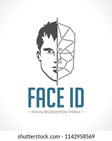 Facial recognition system - face as ID - biometric logo