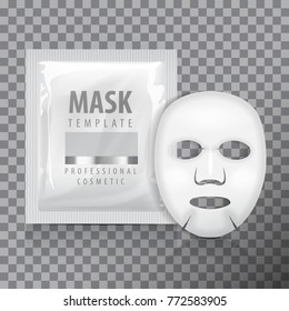 Facial sheet mask with sachet. Blank vector mock up template. Beauty product package for your design