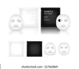 Facial sheet mask and sachet isolated on white background. Beauty product package. Vector illustration.