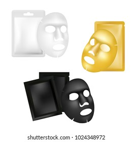 Facial sheet mask and sachet mockup set. Vector realistic illustration isolated on white background. Beauty product package design template.