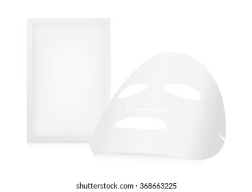 Facial sheet mask and sachet on white background.