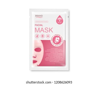 Facial sheet mask sachet package. Vector realistic illustration isolated on white background.