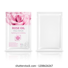 Facial sheet mask sachet package mockup set. Vector realistic illustration isolated on white background.