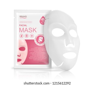 Facial sheet mask sachet package. Vector realistic illustration isolated on white background. Beauty product packaging design templates.