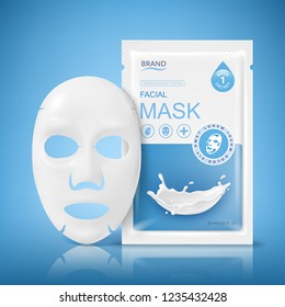 Facial sheet mask sachet package. Vector realistic illustration isolated on blue background. Beauty product packaging design templates.