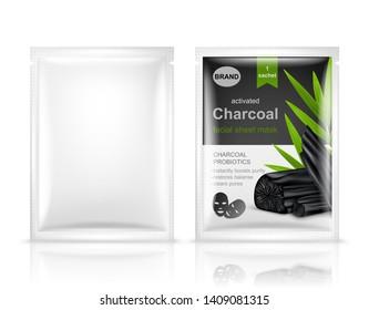 Facial sheet mask sachet package mockup set. Vector realistic illustration isolated on white background