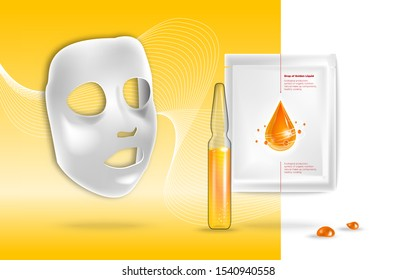 Facial sheet mask, sachet package. Transparent Glass Ampoule liquid drug solution. Beauty product packaging design. Template with label and logo for skin care emulsion, cream, serum