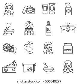 Facial skin care icons set. Cleansing and maintain healthy skin, thin line design. Get rid of facial imperfections, linear symbols collection