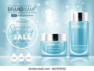 Facial treatment cream glass jars set realistic vector illustration isolated on blue bokeh background. Cosmetic add mock up template for sale poster design