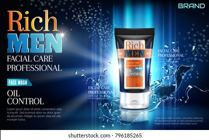 Facial wash ads, cosmetic tube with splashing liquid and glittering blue background in 3d illustration