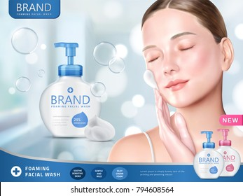Facial wash ads, foaming face wash with attractive woman smearing foams on face, bokeh and glitter blue background in 3d illustration