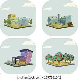 地図やゲームの施設と建築アイコン 食品工場 家具工場 市場 果樹園
