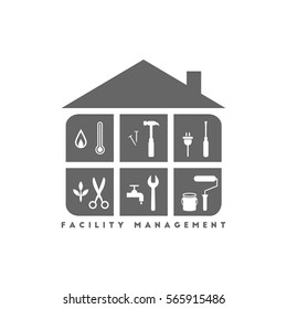 Facility management concept with building and various working tools inside