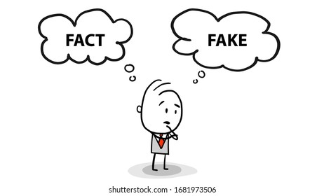 fact or fake concept with businessman standing confuse to choose between two option vector graphic illustration