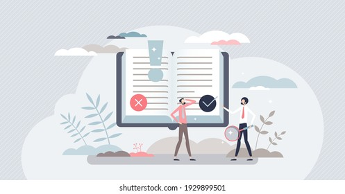 Fact research and fake news analysis to check information truth tiny person concept. Myth, propaganda recognition from quality and accurate media vector illustration. Search evidence for read text.