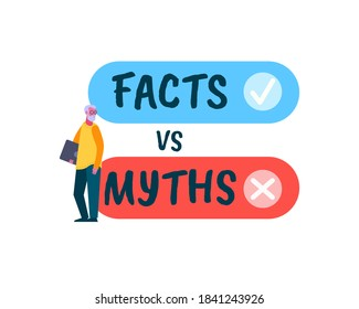 Fact vc Myth poster. Battle of realism and fantasy honest evidence against invented deception and falsehood struggle opposites forgotten values mythical cliches truth against fictional vector lies.
