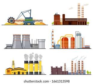 Factories or industrial plants, heavy industry set
