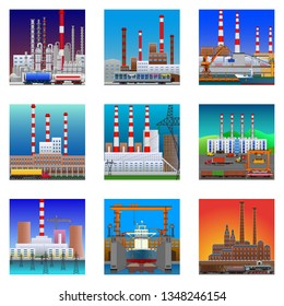 Factories and plants icons in flat style. Nuclear power and chemical plants, old factory, and shipyard icons. Detailed vector illustration