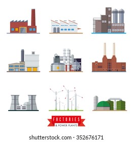 Factories and power plants vector icons. Set of nine flat design industrial buildings vector illustrations