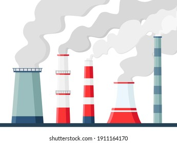 Factory air pollution. Environmental contamination carbon dioxide emissions. Toxic factories and plants with fumes or smog. Polluting chimneys vector illustration.