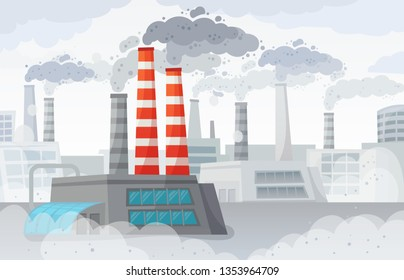 Factory air pollution. Polluted environment, industrial smog and industry smoke clouds. Environment carbon dioxide pollutions, toxic factories building fumes or dirty fuel smog vector illustration